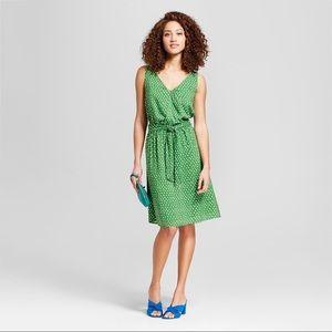 Green Polka Dot Sleeveless Tie-Waist Midi Dress